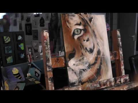Tiger malen mit Acryl