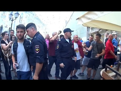 England fans in Moscow. TROUBLES WITH POLICE. 10.07.2018 (видео)