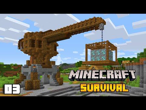 Medieval Crane & Mining Quarry Terraform   Minecraft Survival 1.16 Let's Play Ep. 3
