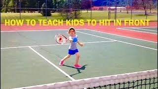 In this video, Hammer It Tennis Creator, Coach Daniel, shows you how to instruct your child in the first stages of learning the Hammer It forehand!  Emma, age 4, demonstrates how to Hammer the ball for out in front contact!Wilson Red Balls  http://amzn.to/2vksPv5Wilson Hopper http://amzn.to/2sYxodT