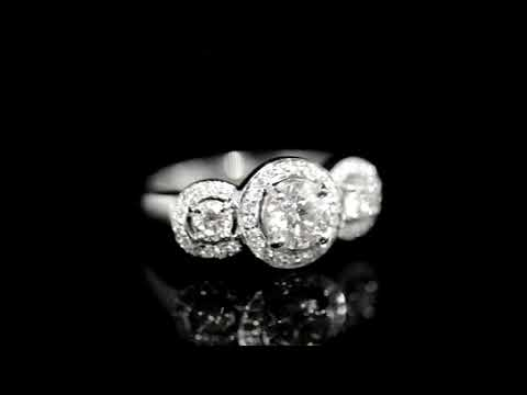 CGL Certified 1.28ct (TDW) Round Brilliant 'Hearts & Arrows' Cut Canadian Diamond Halo Trinity Ring