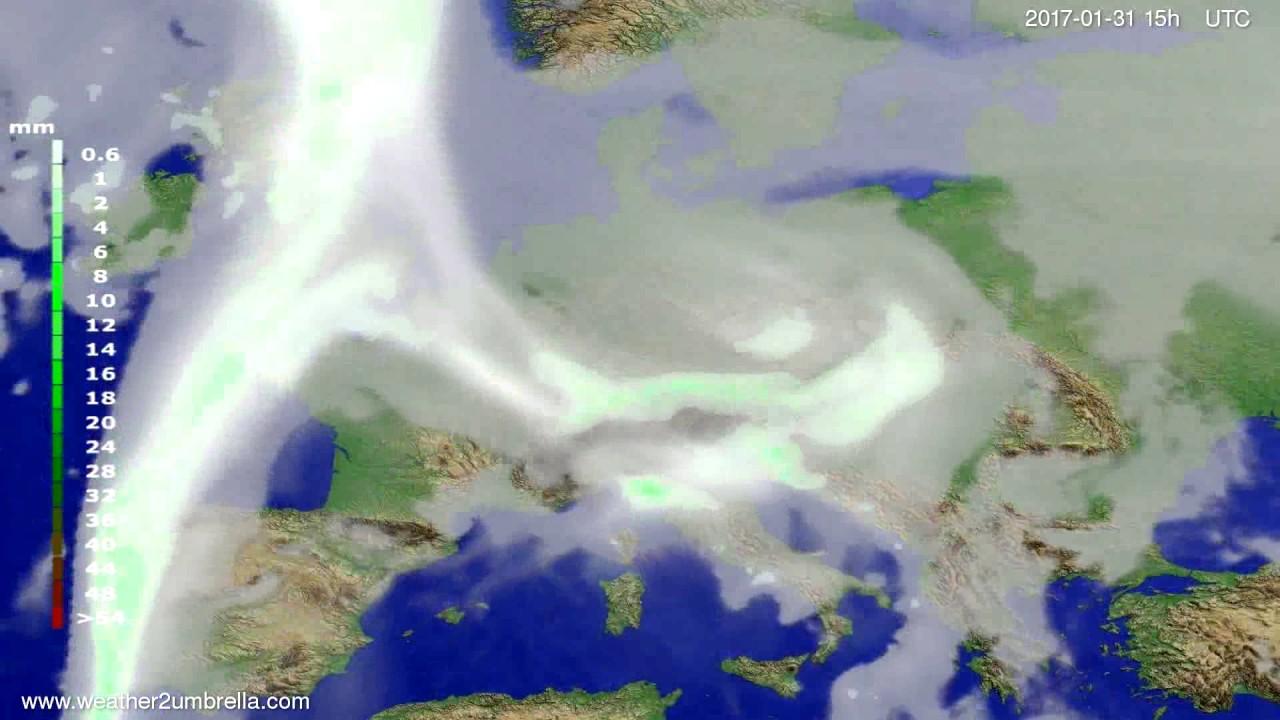 Precipitation forecast Europe 2017-01-29