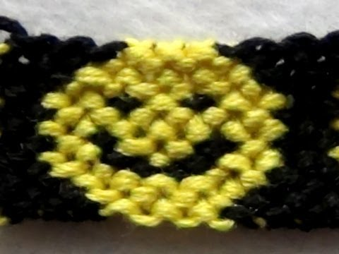 ► Friendship Bracelet Tutorial 36 - Intermediate - Smiley Faces Pattern