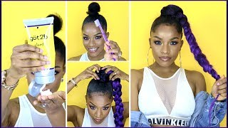 Hey Babes! I got a lot of questions on my purple jumbo braid ponytail look on Instagram, so I'm giving you a full how to using the Got2b styling spiking glue on my natural to achieve this ponytail. I used the Got2b invisible styling gel in my drawstring ponytail video (here https://youtu.be/dgSniBvVw7M), and I'm not sure which one I like better. Have you used got2b gel before for your ponytail with braiding hair? Let me know in the comments.What I'm Wearing:Top http://bit.ly/2qJYRi8Jacket (similar) http://bit.ly/2ruBlapThe braiding hair I used is from Model Model and Harlem 125 (2 different kinds of purple and 1 color OT DKPU)Purple color http://amzn.to/2rAXkOLSimilar here http://amzn.to/2rBdxn0MY PONYTAIL PLAYLIST 💕https://www.youtube.com/playlist?list=PL3wZ0hUMe2hI0roZfkKrc-8DU5NR64pD8Video is not sponsored, although I am one of Got2b's social ambassadors. Stay tuned to my Instagram for new looks to rock this summer! @thebrilliantbeauty Instagram.com/thebrilliantbeauty⇣KEEP UP WITH MEINSTAGRAM: @thebrilliantbeautySNAPCHAT: brilliantb3autyTWITTER: @BrilliantJodianFACEBOOK: The Brilliant BeautyPINTEREST: The Brilliant Beauty--EQUIPMENT I FILM WITH--Canon 80D http://amzn.to/2a3vnHQRing Light http://amzn.to/2arNbfAFor business inquiries only, contact ⇢ thebrilliantbeautybiz@gmail.com😋Welcome to my channel! I'm Jodi, and I share my creative ideas through TheBrilliantBeauty by uploading hair tutorials, makeup looks, and fashion videos. My hope is to inspire you to try something new and be confident in the process.