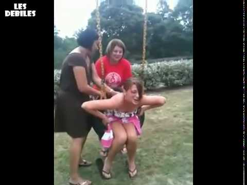 Hot Chick Stuck In A Tire Swing. Nice Dismount.
