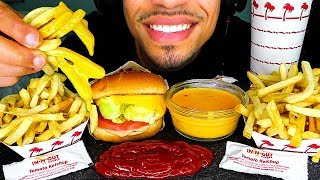 ASMR IN N OUT BURGER ANIMAL STYLE CHEESY FRIES MUKBANG EATING GRILLED CHEESE CHALLENGE | NO TALKING