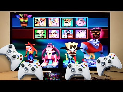 Crash Bash LG G5 HDMI 4 Xbox 360 Controllers Players 1080p TV PS1 Emulator Epsxe Android Smartphone