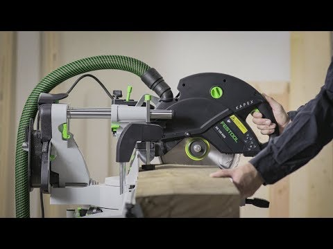 Видео Пила торцовочная с протяжкой Festool KAPEX KS 120 REB-Set-MFT