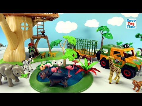 Playmobil Animal Transporter with Baby Safari Animals For Kids - Elephant Giraffe Lions