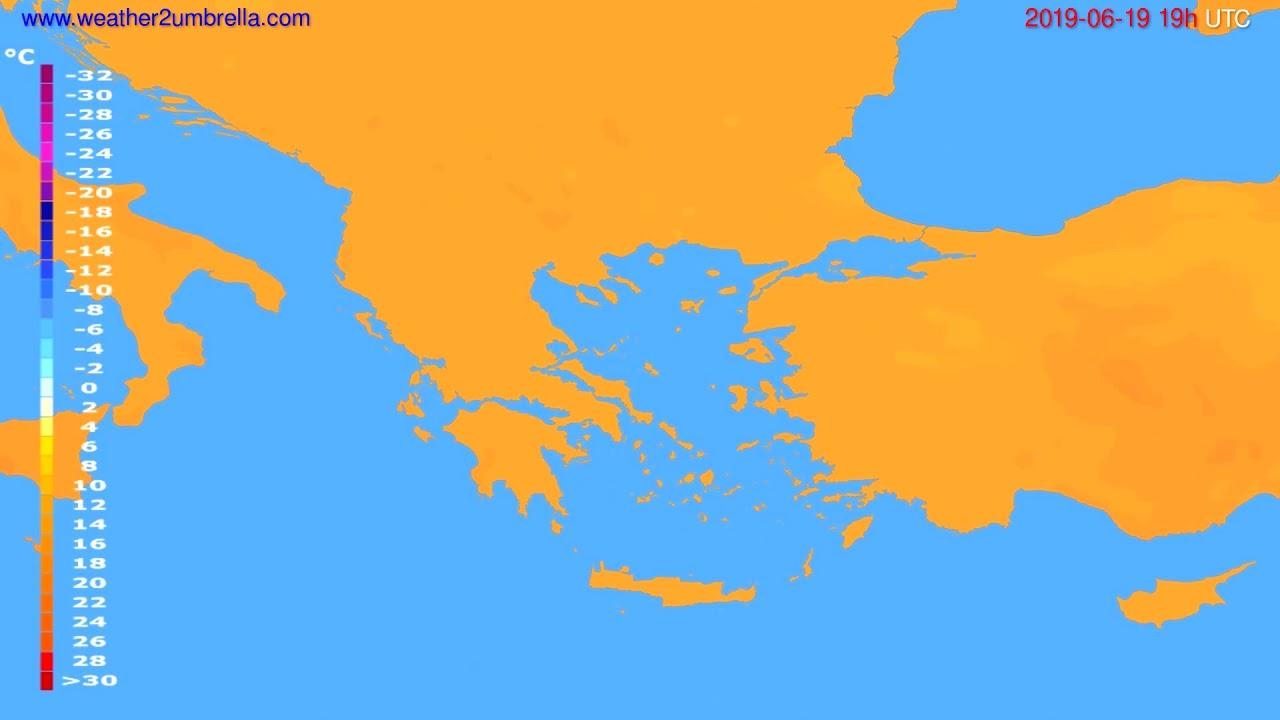 Temperature forecast Greece // modelrun: 12h UTC 2019-06-16