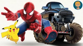SPIDERMAN HuLk Batman Ironman Cartoon - Spider-man vs Venom Joker Pikachu Monster Trucks Battle