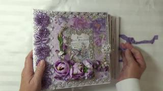 """A custom order, this album was made with Galeria Paperieru's """"Purple Rain"""" Paper collection. It can ve purchased at WHS Marketplace on Facebook. Please contact me at capecodcheryl@yahoo.com if you are interested in a custom order.My Blog : http://www.cherylspapercreations.comMy Facebook Page: https://www.facebook.com/cherylspapercreations/?fref=tsWHS Marketplace : https://www.facebook.com/groups/WHSMarketplace/"""