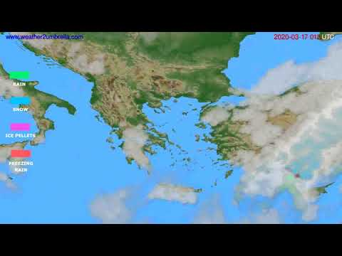 Precipitation forecast Greece // modelrun: 12h UTC 2020-03-15