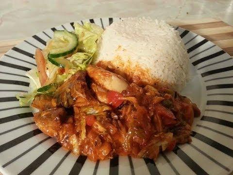 Community Magazine – white rice & tin mackerel in tomato sauce & salad Caribbean food