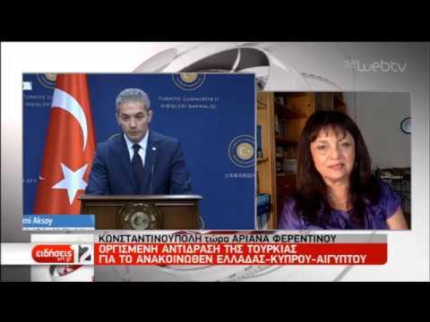Οργισμένη αντίδραση της Τουρκίας στο κοινό ανακοινωθέν Ελλάδας-Κύπρου-Αιγύπτου   29/09/2019   ΕΡΤ