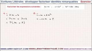 Maths 3ème - Écritures Littérales développer factoriser identités remarquables Exercice 4