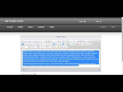 <h2>Admin panelinden Sayfamıza Menülere İçerik eklemek</h2><br><br>