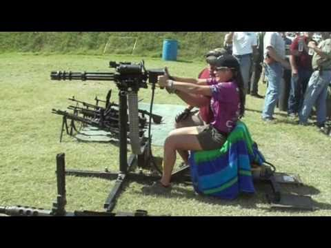 The minigun - Tori Nonaka (15) Firing the Minigun at the 2010 IDPA National Championship.