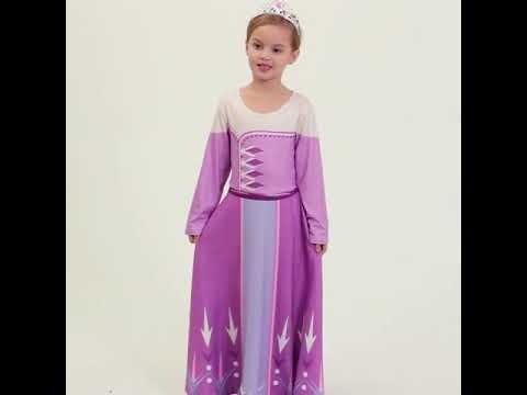 Платье эльзы для девочек на хэллоуин, снежной королевы, принцессы, вечерние пижам… видео