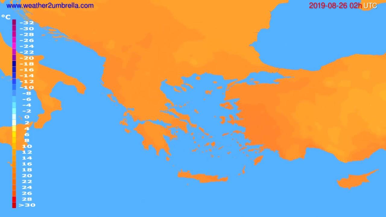 Temperature forecast Greece // modelrun: 00h UTC 2019-08-24