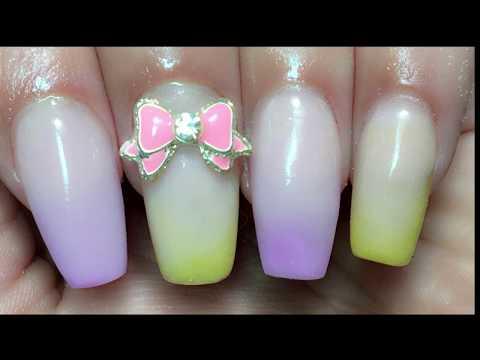 Uñas acrilicas - Ombre en tonos pastel /difuminado acrilicos