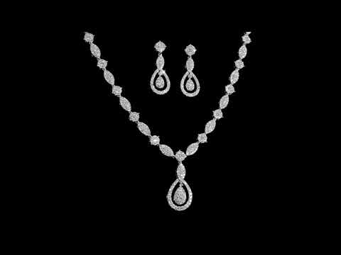 18k White Gold Cluster Diamond Necklace, Earrings and Ring Set