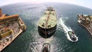 Willemstad Curacao  city photos gallery : a huge tanker enters harbor of willemstad curacao