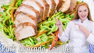 Garlic & Herb Sirloin with Avocado Zoodle Salad by Tatyana's Everyday Food