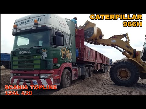 Scania 124l 420. Topline. Sand Loading By Caterpillar 966h. Part 2