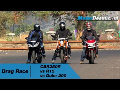 CBR250R vs R15 vs Duke 200 - Drag Race