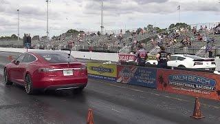 762 HP Tesla P90D vs 650 HP C7 Z06 Corvette - 1/4 mile Drag Race - Road Test TV by Road Test TV