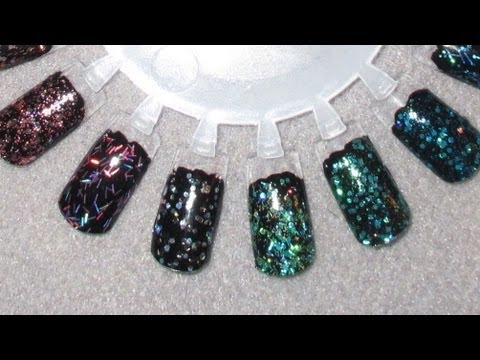 Orly Flash Glam FX Swatches over Black & White (All 22 Glitters!)