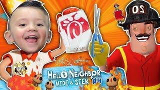 Hello Neighbor styles Shawn's Hair!! Fireman helps FGTEEV beat Hide N Seek Stage 3