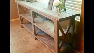 """I have created a start to finish tutorial of this popular console table.  here is the shopping list:6- 2x2 @ 8'3 - 2x4 @ 8'3 - 2x6 @ 8'2 - 1""""x12"""" @ 6'1/1/4 pocket screws  (pocket hole jig- if you dont have one)2 1/2"""" wood screwswood glue Lets cut the wood;12 - 2x2 cut at 30""""2 - 2x2 --- cut @ 60* then measure 22 1/2""""  and cut 60* - will be                    longer than 22 1/2 2 - 2x2 -- cut  @ 60* then measure 11 1/4"""" and cut at 30* - will be longer than 11 1/4""""2 - 1""""x12"""" at 63 1/2 """"3 - 2x6 at 74 1/2""""** all miter cuts are in the same direction"""