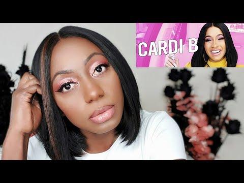 Cardi B Carpool Karaoke Inspired Pink Eye Makeup   Dark Skin Tutorial