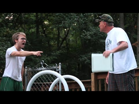 dad - An enraged Father finds his son's hidden gaming lair and throws his Xbox in the pool. Want more videos like this one, check out the Psycho Series: http://www...