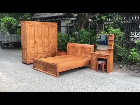 Bộ combo phòng ngủ gỗ Gõ Đỏ cao cấp - Đồ Gỗ Cường Nga