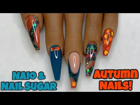 Autumn Teal Acrylic Nails | Nail Sugar | Naio Nails