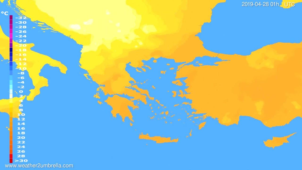 Temperature forecast Greece // modelrun: 00h UTC 2019-04-26