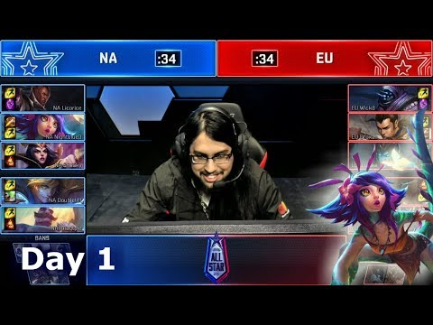 NA vs EU - Pro's and Influencers Show Match | 2018 LoL All Star Event Day 1