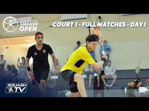 Squash: El Gouna International - Court 1 - Rd 1 Full Matches - Day 1