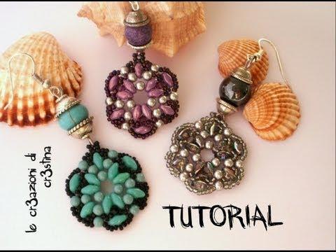 Tutorial Orecchini TANTI AUGURI Superduo/Twin beads, Perle, Bicono Swarovski 3 mm, Rocailles (1/2)