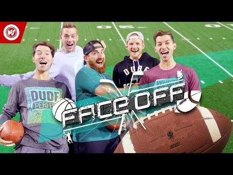 dude perfect faceoff football skills edition sponsored by state farm watch the dudes battle it out in catch don t catch jugs machine slick hands chall