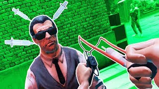I BUILT a SLING SHOT NEEDLE LAUNCHER in Drunkn Bar Fight VR!