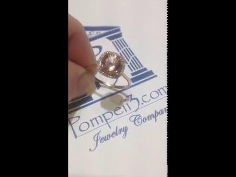 Pompeii3 2.25CT Peach Morganite Halo Diamond Ring 14K Rose Gold