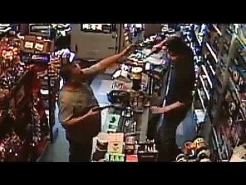 robber - This is the moment a robber attempting to hold up a store in Pennsylvania with a BB gun was challenged by a shopkeeper wielding his own weapon. A shopkeeper ...