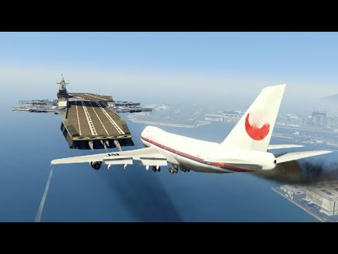 "GTA5 - Massive Air Plane ""Emergency Landing"" At Helicarrier GTA5 (This Is From GTA5 Game)"
