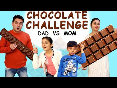 Funny movies - CHOCOLATE CHALLENGE #Kids #Funny #Family  Mom vs Dad Blindfold Challenge  Aayu and Pihu Show
