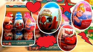 Spiderman Cars Princess 18 Surprise Eggs Unboxing #62