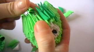3D origami: green pig part 2
